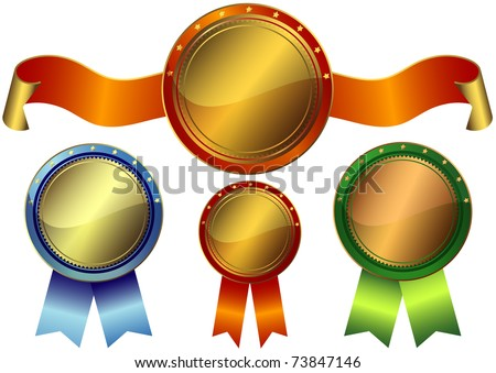 Set gold, silver and bronze awards on a white background (vector EPS10)