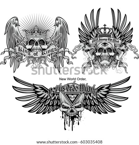 set gothic coat of arms with skull, grunge vintage design t shirts