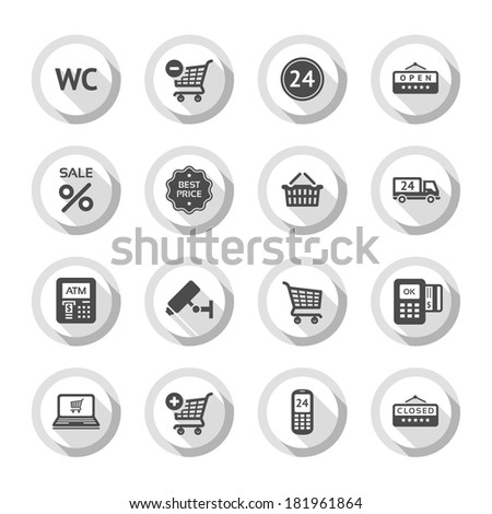 Set gray flat buttons, symbols with shadow. Vector illustration 10eps