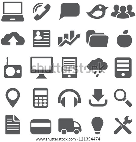 Set gray simple vector icons for web design. - stock vector