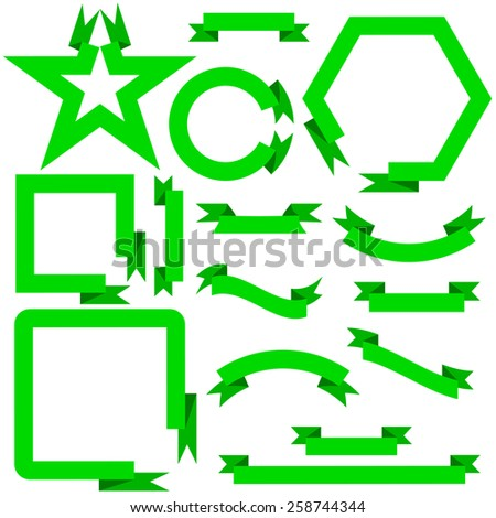 Set green ribbons  and banners, vector illustration - stock vector