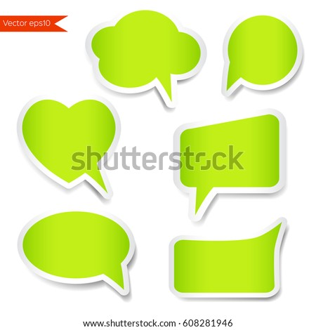 Set green sticker with speech bubbles set sticker vector isolated on white background abstract