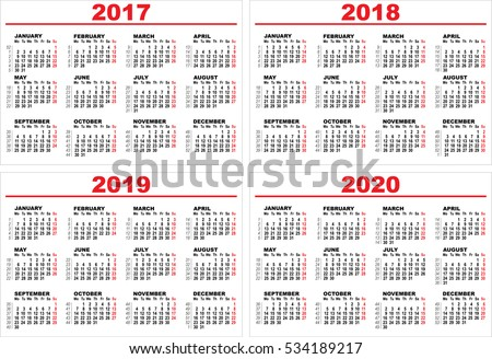 Set grid wall calendar for 2017, 2018, 2019, 2020. Illustration template in vector format