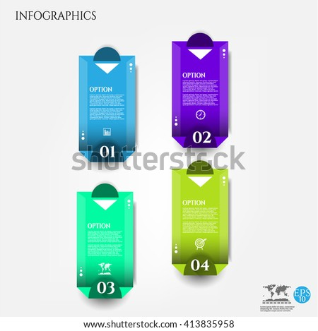 Set, group, collection of four blue, green modern labels, banners with numbers and simple icons, isolated on bright background, for infographics, presentations, documents