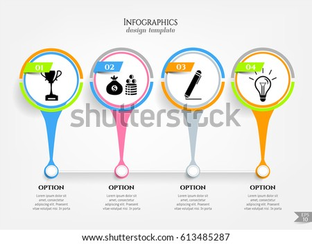 Set, group, collection of four modern labels, banners with numbers and simple doodle icons, isolated on bright background, for infographics, presentations, documents