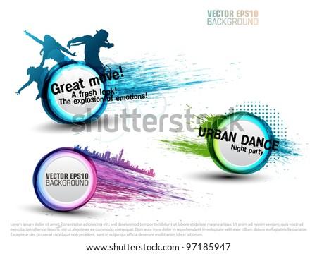 set grunge color Speech Bubbles for party. vector - stock vector