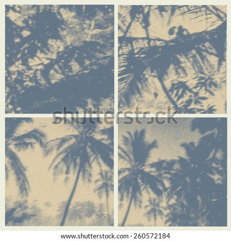 set halftone square backgrounds with palms trees silhouettes. vector illustration. - stock vector