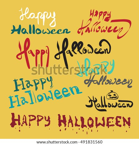 Set Halloween Invitation Greeting Card Template Stock Vector 2018