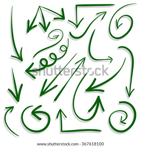 Set. Hand drawn arrows. Freehand drawings. VECTOR. Green arrows and shadows - stock vector