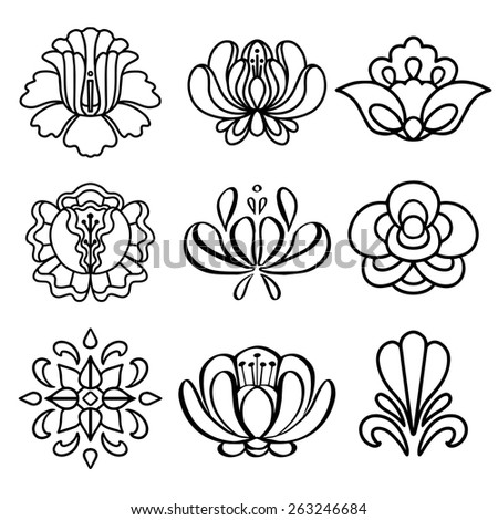 Set hand drawn black lines flowers isolated on a white background. Floral icons.Tattoo. Art logo design - stock vector