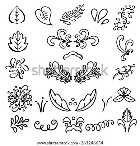 Set hand drawn black lines leaves, waves isolated on a white background. Floral icons.Tattoo. Art logo design - stock vector