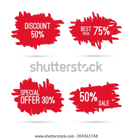 Set hand drawn figures, felt-tip pen scrawl. Rough blob frame elements. tags  and labels. special offer, discount and percentages, price - stock vector