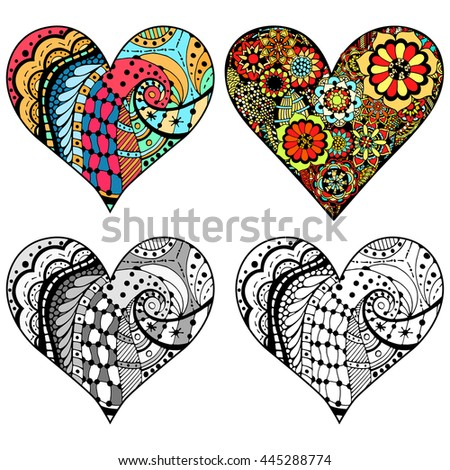 Set Hand drawn hearts in zentangle style. Pattern for coloring book. Coloring page for adult anti stress. Made by trace from sketch. Valentine's day background.