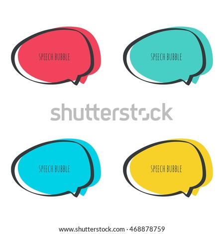 set hand drawn speech bubble vector stock vector 468878759 rh shutterstock com speech bubble vector free speech bubble vector free