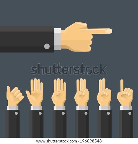 Set hand gesture. Vector - stock vector