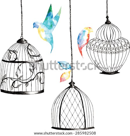 set hand-painted birdcages , birds , leaves, watercolor rainbow coloring - stock vector
