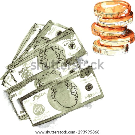 set hand-painted watercolor - dollars five pieces , in denominations of one hundred dollars , and a stack of coins - stock vector