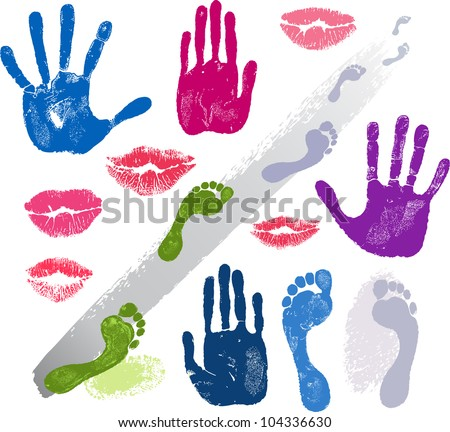 Set hands, lips, foots, footsteps prints  isolated on white background - stock vector