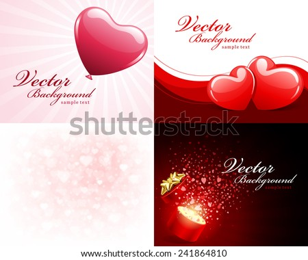 Set happy valentines day greetings cards stock vector 241864810 set happy valentines day greetings cards vector background design valentines day wishes hearts m4hsunfo