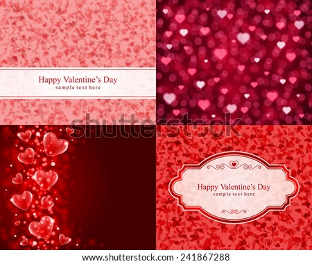 Set Happy Valentine's Day greetings cards vector background design. Valentine's day wishes, hearts, love symbols, bokeh light and gifts. - stock vector