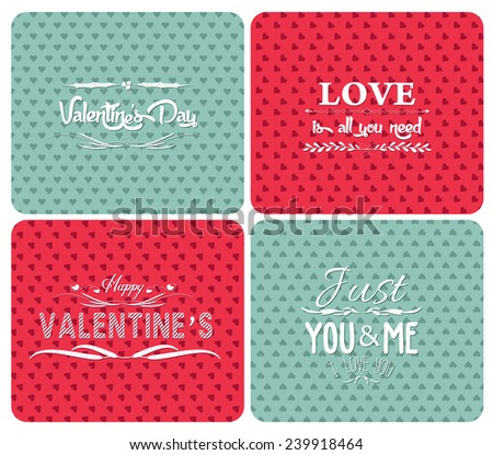 set happy valentines day and weeding cards - stock vector