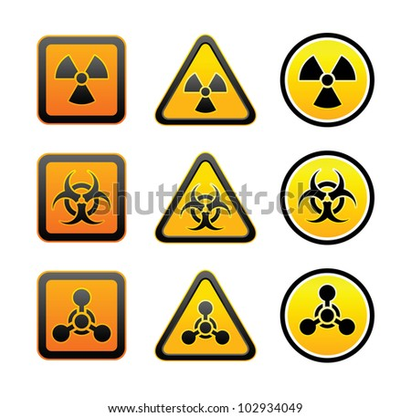 Set hazard warning radioactive symbols - Radiation - Chemical weapon - Biohazard sign