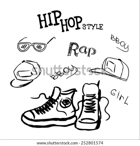 set hip hop style accessories, vector illustration - stock vector
