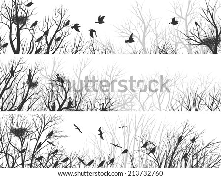 Set horizontal abstract banners of forest with nests in trees and birds. - stock vector