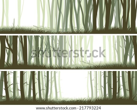 Set horizontal banners inside misty forest with trunks of trees. - stock vector