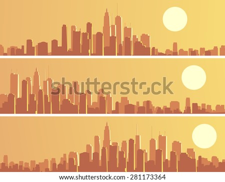 Set horizontal banners of abstract big city and skyscrapers with glare from sun. - stock vector