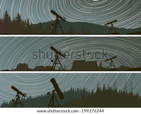 Set horizontal banners of stars trace circles on the sky with telescopes and forest. - stock vector
