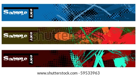 Set horizontal grunge banners. Vector illustraton. - stock vector