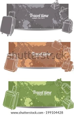 set horizontal travel banners  - stock vector
