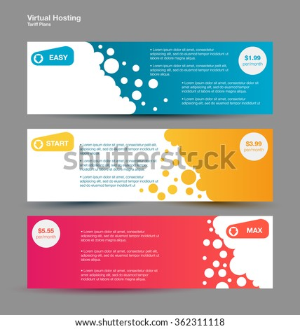 set horizontal web banners. Price list, hosting plans and web boxes banners design. three tariffs. interface for the site. ui ux vector banner for web app. - stock vector