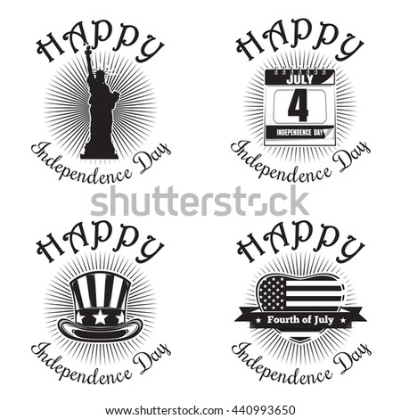 Set icon for Independence Day. Happy Independence Day. Statue of Liberty, calendar with the date July 4, Uncle Sam hat, heart shaped American (USA) flag. Vector icon isolated on white background - stock vector