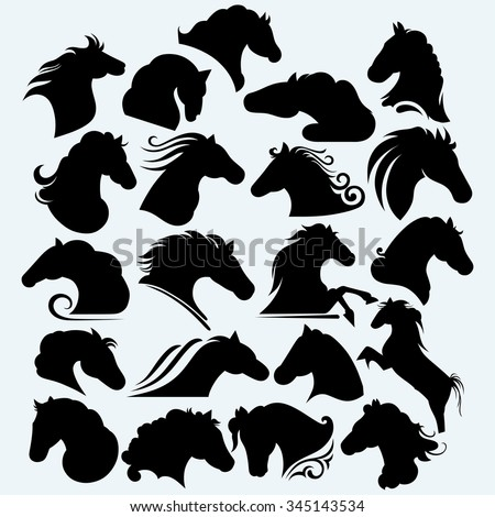 Set icon wild horses. Isolated on blue background. Vector silhouettes - stock vector