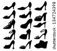Set icon women shoes isolated black silhouette. High heels. Clogs. Sandals. White background. Abstract design logo. Logotype art- vector - stock vector