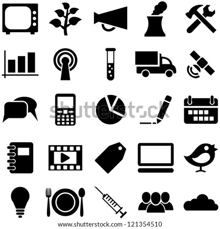 Set icons and symbols. Pictogrammes for web, business, medicine and design. - stock vector