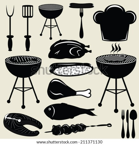 Set icons barbecue grill - stock vector