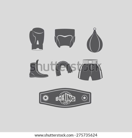 Set icons Boxing, kick boxing. Boxing equipment: gloves and helmet - stock vector