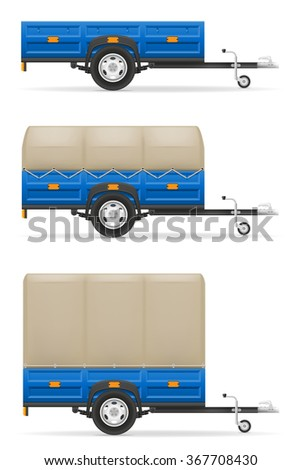set icons car trailer for the transportation of goods vector illustration isolated on white background