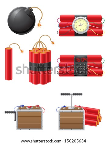 set icons detonating fuse and dynamite vector illustration isolated on white background - stock vector