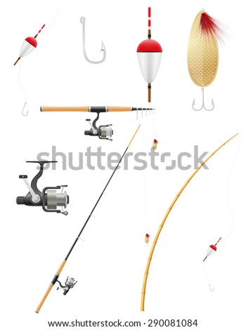 set icons fishing equipment vector illustration isolated on white background - stock vector