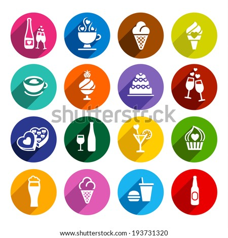 Set icons-food, colorful flat design, vector illustration for web applications - stock vector