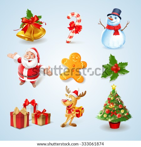 set icons for christmas toon - stock vector