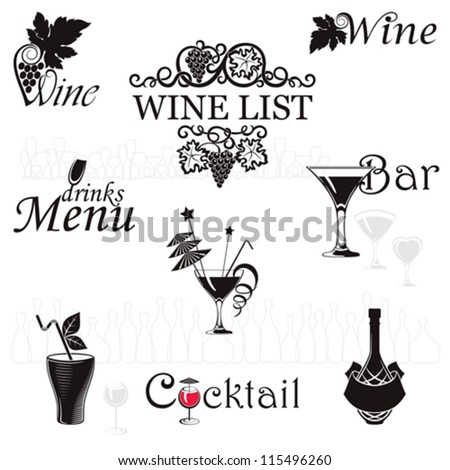 Set icons for drinks - stock vector
