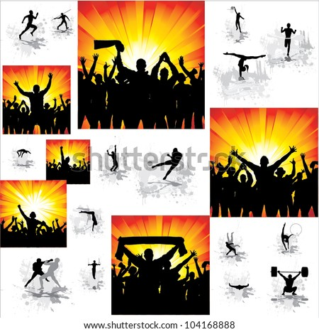 Set. Icons for sports championships and posters from happy fans . - stock vector