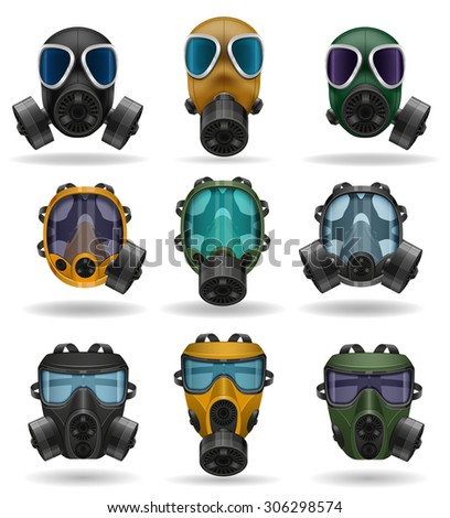 set icons gas mask vector illustration isolated on white background - stock vector