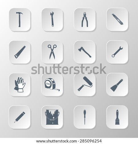 Set icons hand tools flat style: screwdriver, wrench, pliers, trowel,spanner,  stationery knife, putty knife, scissors, gloves, paint roller, paint brush, saw, axe, tape measure, hammer, pencil - stock vector