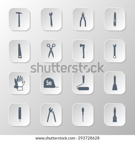 Set icons hand tools flat style: screwdriver, wrench, pliers, trowel, spanner,  stationery knife, putty knife, scissors, gloves, paint roller, paint brush, saw, axe, tape measure, hammer - stock vector